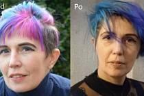 Terénní učitelka Petra Dočkalové z Náchoda před návštěvou kadeřnictví (vlevo) a po návštěvě.