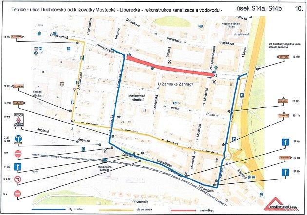 Plán na práce a omezení provozu vDuchcovské ulici