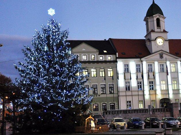 Vánoční strom v Teplicích na náměstí Svobody