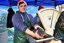 Brigádníci z Jindřichova Hradce prodávají vánoční kapry u Kauflandu v Teplicích. Na snímku Jan Havlíček