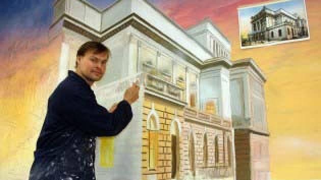 Rozmalovaný obraz Krušnohorského divadla