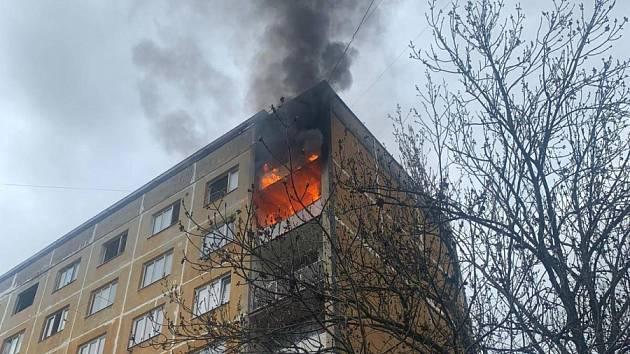 Požár domu v Bílině.
