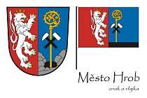 Znak a vlajka města Hrob.