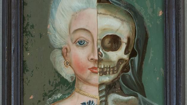 Podmalba ženy a smrti, N 184, žánrový motiv, starý muzejní majetek, Teplicko, první polovina 19. století.