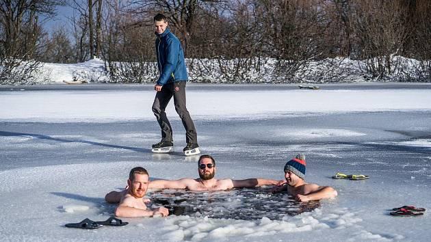 Otužilci v rybníku na Cínovci.