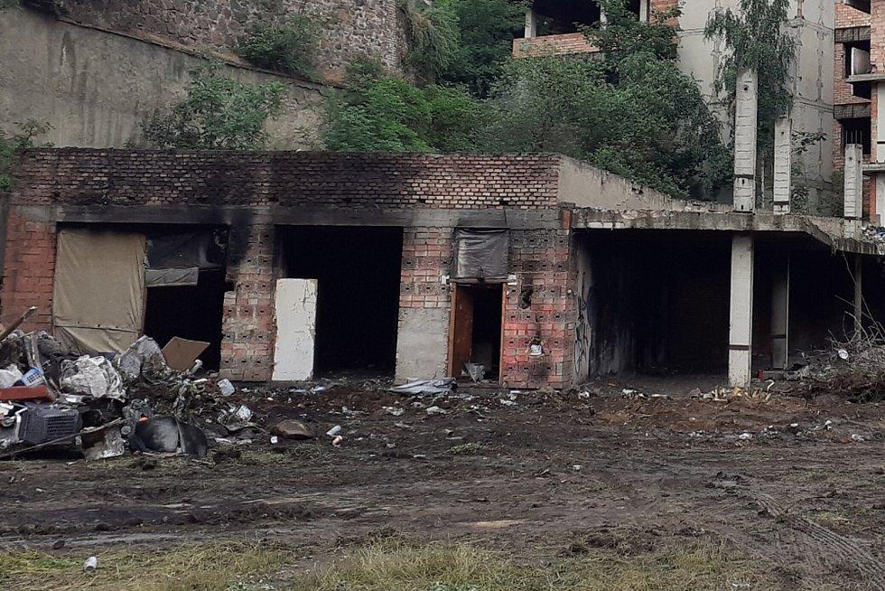 Vystěhovaní bezdomovci z Mlýnské ulice v Teplicích, sobota 3. července 2021