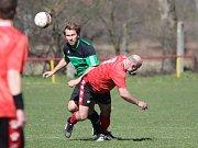 Soběchleby (v červeném) porazily Oldřichov B 2:0