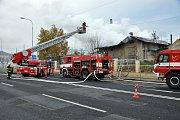 Požár nádražního domku v Teplicích