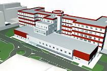 Studie připravovaného projektu výstavby operačních sálů v teplické nemocnici.