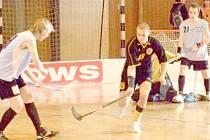 GÓLOVÁ ŠANCE. Vlevo Miroslav Kopecký nahrává míček před brankou stojícímu Jiřímu Královi. Snímek je z domácího duelu proti Litvínovu.