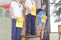 STUPNĚ VÍTĚZŮ. Zatímco na snímku druhý Kryštof Schröpfer si při sobotních závodech vyplaval dvě zlaté, dvě stříbrné a jednu bronzovou medaili, jeho největší soupeř Martin Šimáček stál ´na bedně´ čtyřikrát na prvním místě a druhou a třetí příčku osadil jed