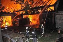 Požár stodoly v Hlohové.