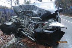 Poslední lednový pátek ráno narazila na Hadrovci do stromu řidička Subaru.