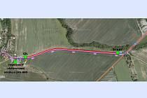 Plánek trasy sobotního závodu na nové cyklostezce mezi Kvíčovicemi a Holýšovem.