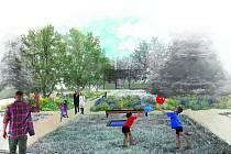 Vizualizace. Květiny v záhonech přilákají navíc ptactvo i hmyz. Mimo jiné zlepší i estetickou stránku parku.