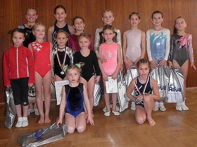 Společná fotografie domažlických gymnastek.