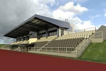 Vizualizace nové tribuny na domažlickém stadionu Střelnice.