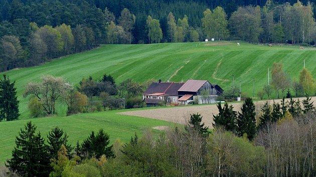Pohled přes pelechenskou samotu dříve zvanou uFínfrů na východní okraj obce, kde mají výběh koně.