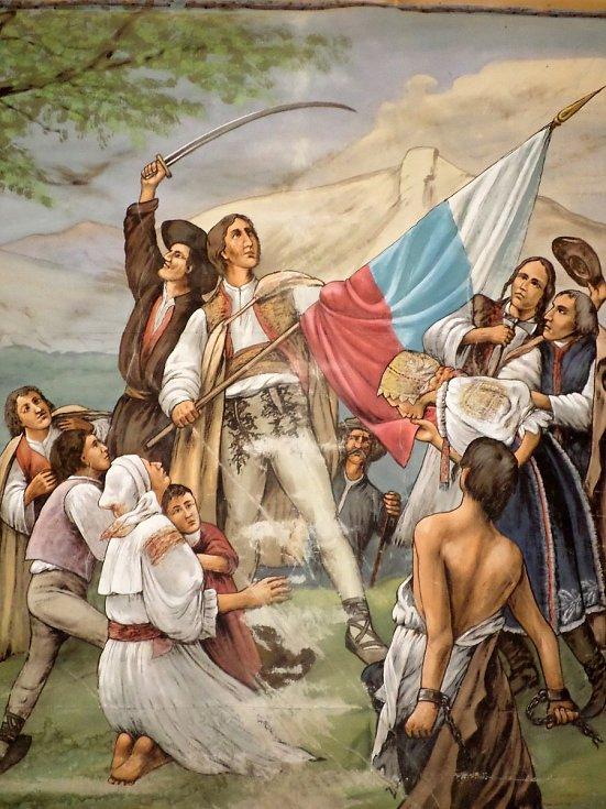 OPONA MALOVANÁ JOSEFEM AMERLINGEM a nalezená v Příchovicích - detail.