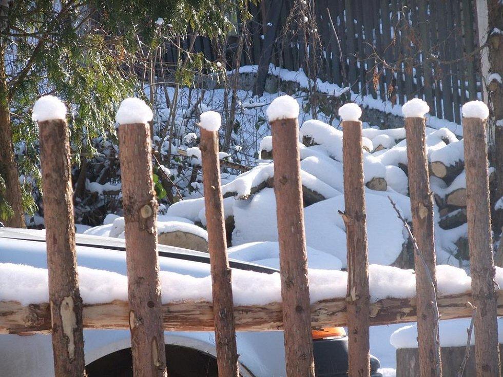 Z nedělní vycházky KČT Domažlice. plot má sněhové čepičky.