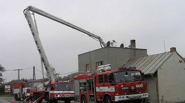 Z požáru v Masarykově ulici v Domažlicích.