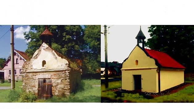 KAPLIČKU PANNY MARIE BOLESTNÉ v Holubči znají mnozí zejména tak, jak je na levém snímku. Nyní je opravena a už nehyzdí náves (vpravo).