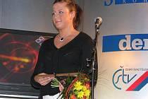 Lenka Ledvinová při únorovém vyhlášení Sportovce roku 2008 v Holýšově, kde ceny nejen předávala, ale také si sama ocenění odnesla.