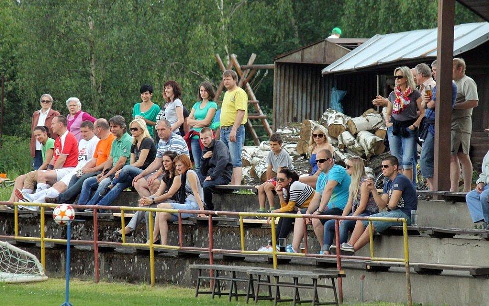 Z utkání fotbalistů Klenčí A s FC Dynamo H. Týn B a pohled do tribun.