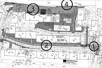 PLÁN REVITALIZACE.  Ve směru od ulice Kosmonautů bude nový vjezd (1) do jednosměrné ulice 17. listopadu. Parkovací místa vzniknou po obou stranách hlavní ulice (2), na místě za kotelnou (3) a u kasárenské zdi (4).