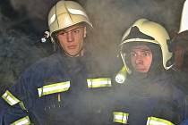 Noční hasičská soutěž v Pocinovicích.