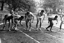 Start prvního ročníku Chodské 1500 v roce 1964. Pozdější vítěz Pavel Faschingbauer je na startu třetí zleva.