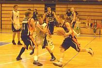 Ze třetího utkání finále play - off Ligy U19 mezi mladými basketbalisty Jiskry Domažlice a Nového Jičína.