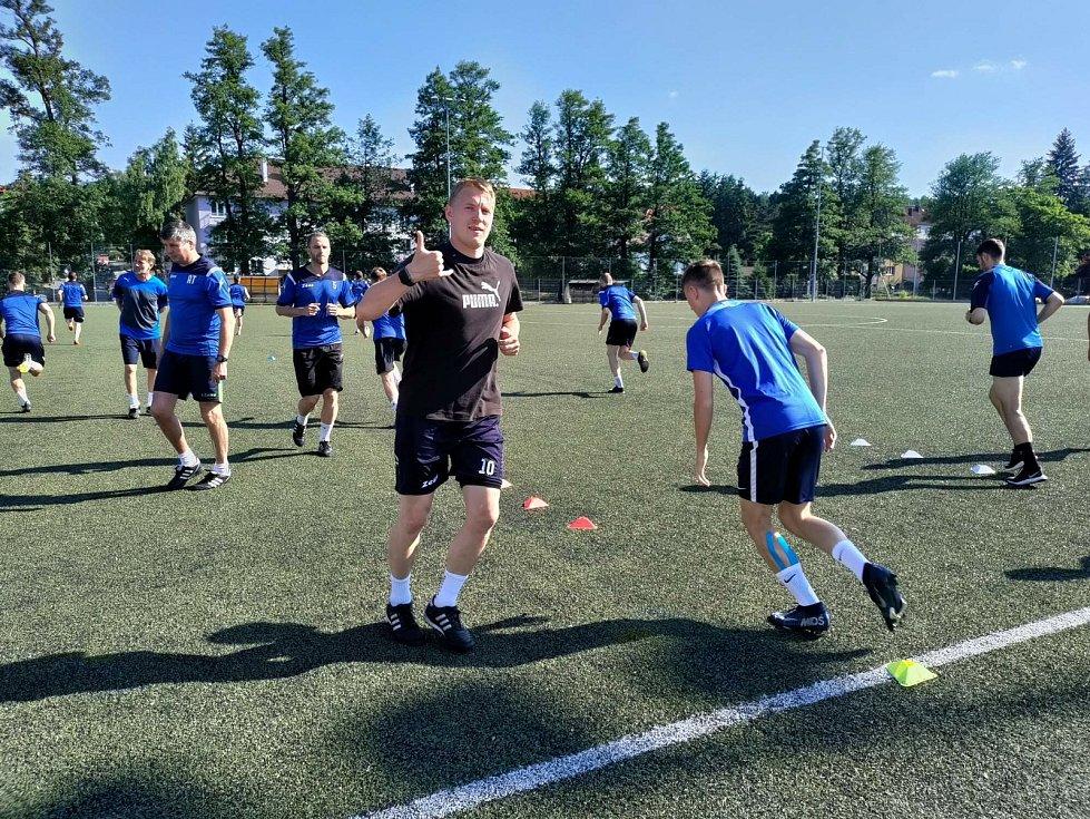 Trénink fotbalistů Jiskry Domažlice.