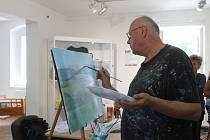 Příprava na malbu v plenéru ve Kdyni.