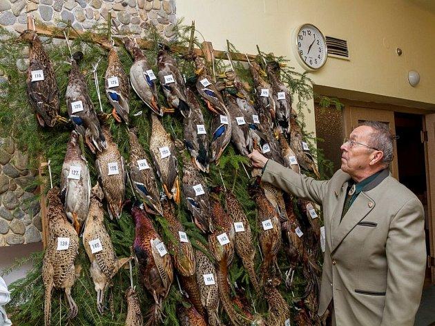 Jiří Skočdopole upravuje rozmístění cen tomboly, kterými jsou divoké kachny a bažanti.