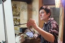 Švýcarská malířka Doris Windlin v domažlické hospodě Kovárna.