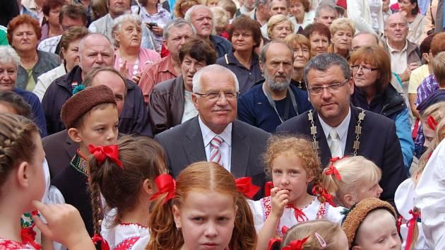 Václav Klaus na Chodských slavnostech v roce 2010.