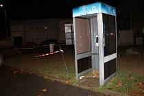 Telefonní automat na autobusovém nádraží v Domažlicích.
