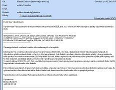 Jeden z podvodných e-mailů. Odborníci varují před otevřením příloh.