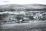 Bystřice, pohled na vesnici ve 20. letech 20. století.