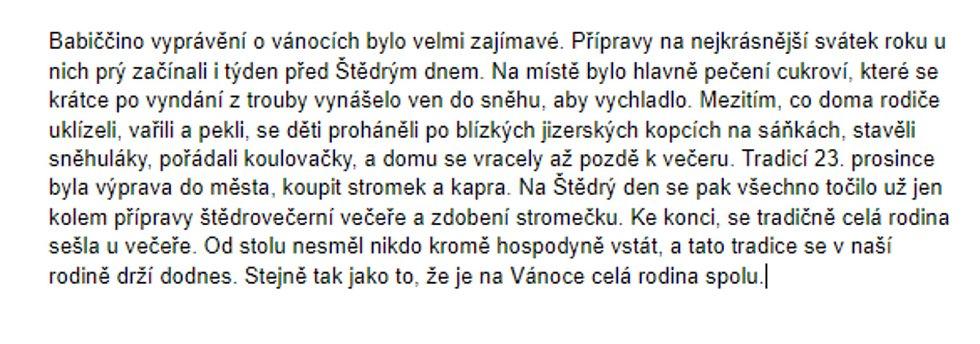 Příspěvek pionýrského projektu Babi, dědo, povídej - Jakub Slezák 15 let.