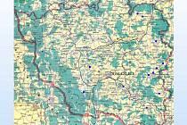 Na mapě okresu jsme modře vyznačili místa, kde jsou komunální volby záležitostí pouze mužských kandidátů.