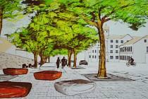 VÍTĚZNÝ NÁVRH. Tento projekt získal nejvíce preferencí. Na snímku pohled od kostela k hotelu Hubertus.