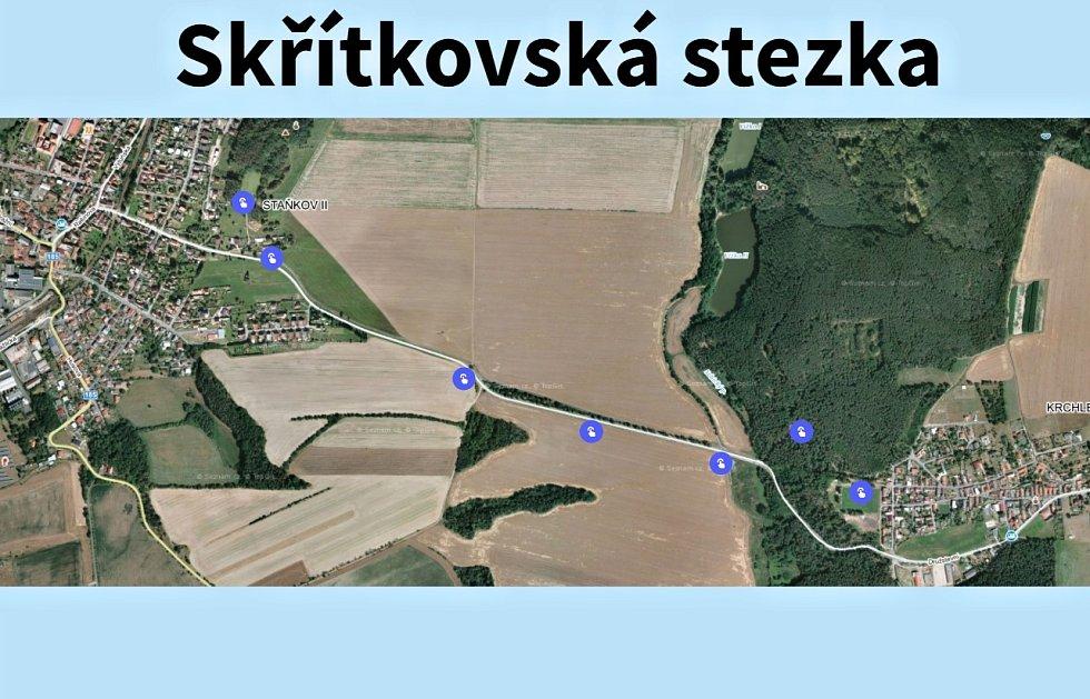 Skřítkovská stezka, mapa.