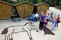 Z tábora PS Mír. Třebaže Obec Újezd předá chatky do vlastnictví pionýrů, újezdské děti budou mít v táboře každoročně vyhrazený týden. Snímke je z pobytu, který pro ně uspořádal SDH Újezd.