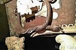Sarkofágu vévodí nepravá madla v podobě lidských lebek. Kolem nich jsou do kruhu vzájemně propletení hadi s otevřenou tlamou a vyplazeným jazykem.