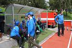 Mladí hasiči soutěžili nejenom ve štafetách, ale i požárním útoku.