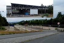 Z demolice celniště pro nákladní auta na hraničním přechodu Folmava. Nahoře malý snímek původní stavby.