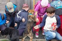 Děti na návštěvě v domažlické chovné stanici policejních psů.