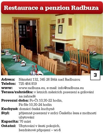 3. Restaurace a penzion Radbuza